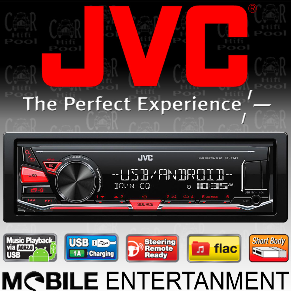 jvc kd x141 mp3 usb aux in autoradio android steuerung. Black Bedroom Furniture Sets. Home Design Ideas