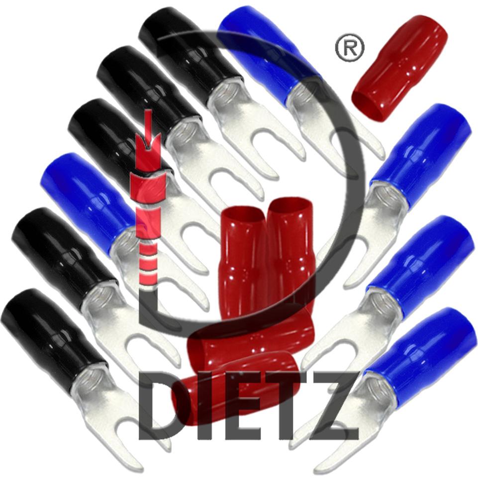 Dietz 27614-P25 Kabelschuh Set 10x Gabelschuh /& 3x 5 Tüllen für 10mm² Kabel