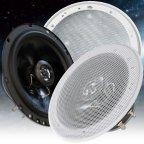 BA16-GW - 2 Wege 16,5cm Koax Lautsprecher Paar mit Gitter weiß