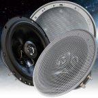 BA16-GS - 2 Wege 16,5cm Koax Lautsprecher Paar mit Gitter silber