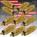 Ba 58054 - 10 Stück Cinchverbinder Stecker / Stecker Cinch RCA Adapter vergoldet