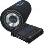 Crunch Basspaket - GPX-500.2 Verstärker Endstufe & GTS-250 Bassröhre Bass Tube